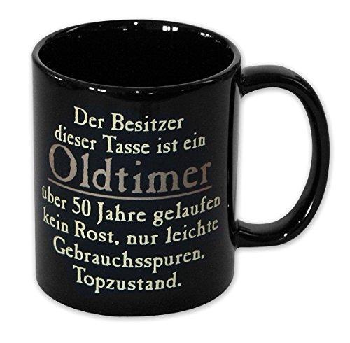 Close Up Oldtimer Tasse - 50 Jahre gelaufen, in Schwarz aus Keramik - ca.320 ml
