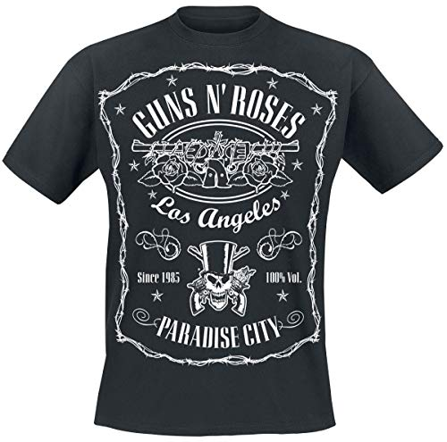 Guns N' Roses Paradise City Label Hombre Camiseta Negro, Regular