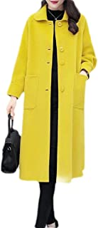 Macondoo Womens Woolen Single Breasted Winter Overcoat Long Jacket Coat