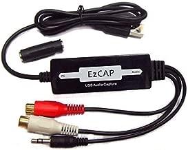 EZCAP 216 USB Vinyl Turntable LP Cassette Tape Guita Phones Music Audio Capture Recorder Adapter Device 3.5mm & RCA RL Connectors to PC USB Audio Capture Recorder Copier for Windows 7 8 10 Mac
