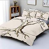Juego de funda nórdica, dibujo a mano de un árbol con pocas hojas, ramas listas para el crecimiento, impresión fértil, juego de cama decorativo de 3 piezas con 2 fundas de almohada, marrón crema, el m