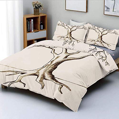 Juego de funda nórdica, dibujo a mano de árbol con pocas hojas, ramas listas para el crecimiento, estampado fértil, juego de cama decorativo de 3 piezas con 2 fundas de almohada, marrón crema, el mejo