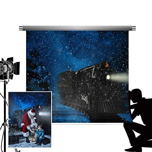 PFMY.DG 2.2x1.5m Christmas Photo Backdrop Christmas Train Theme Background Winter Blue Snowflake Night Scene Backdrops for Photography Studio