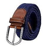 cintura in tessuto elasticizzato da donna e da uomo lunghezza da 100 a 130 cm intrecciata blu scuro