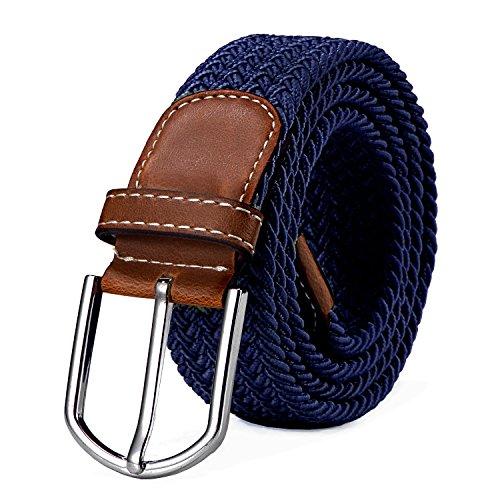 DonDon Cinturón trenzado extensible y elástico para hombres y mujeres de 100 cm a 130 cm de longitud azul oscuro