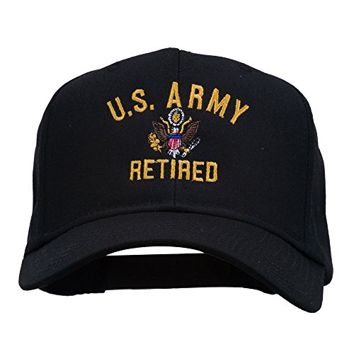 e4Hats.com US Army Retired Military Embroidered Cap - Black OSFM