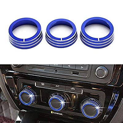 iJDMTOY 3pcs Anodized Aluminum AC Climate Control Ring Knob Covers Compatible With Volkswagen MK7 Golf GTI