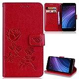 ZCXG Kompatibel für Handyhülle Xiaomi Redmi 4A Hülle Leder Blume Mädchen Brieftasche Silikon Innere Tasche Schutzhülle Anti Slip Kratzfest Weiche Bumper Case Cover Dünn