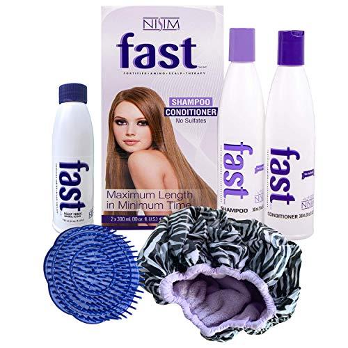 FAST haargroei Shampoo en Conditioner + hoofdhuid Tonic + borstel + dubbele douchekap