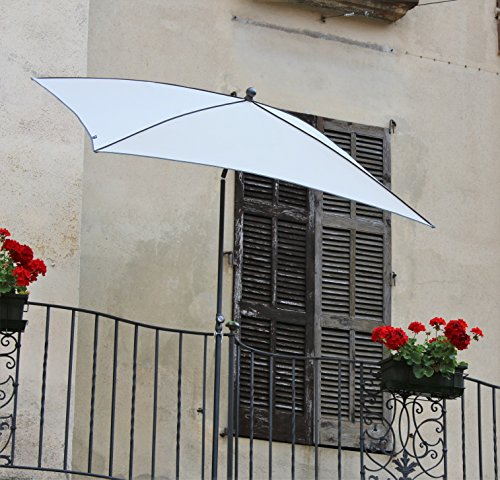 Maffei Art 44br Border, Parasol rectangulaire cm 210 x 130, Tissu Dralon, Made in Italy. Design Exclusif. Couleur Ecru