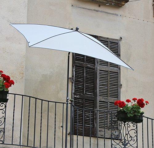 Maffei Art 44br Border, sombrilla Rectangular cm 210 x 130, Tela Dralon, Made in Italy. Diseño Exclusivo. Color Crudo.