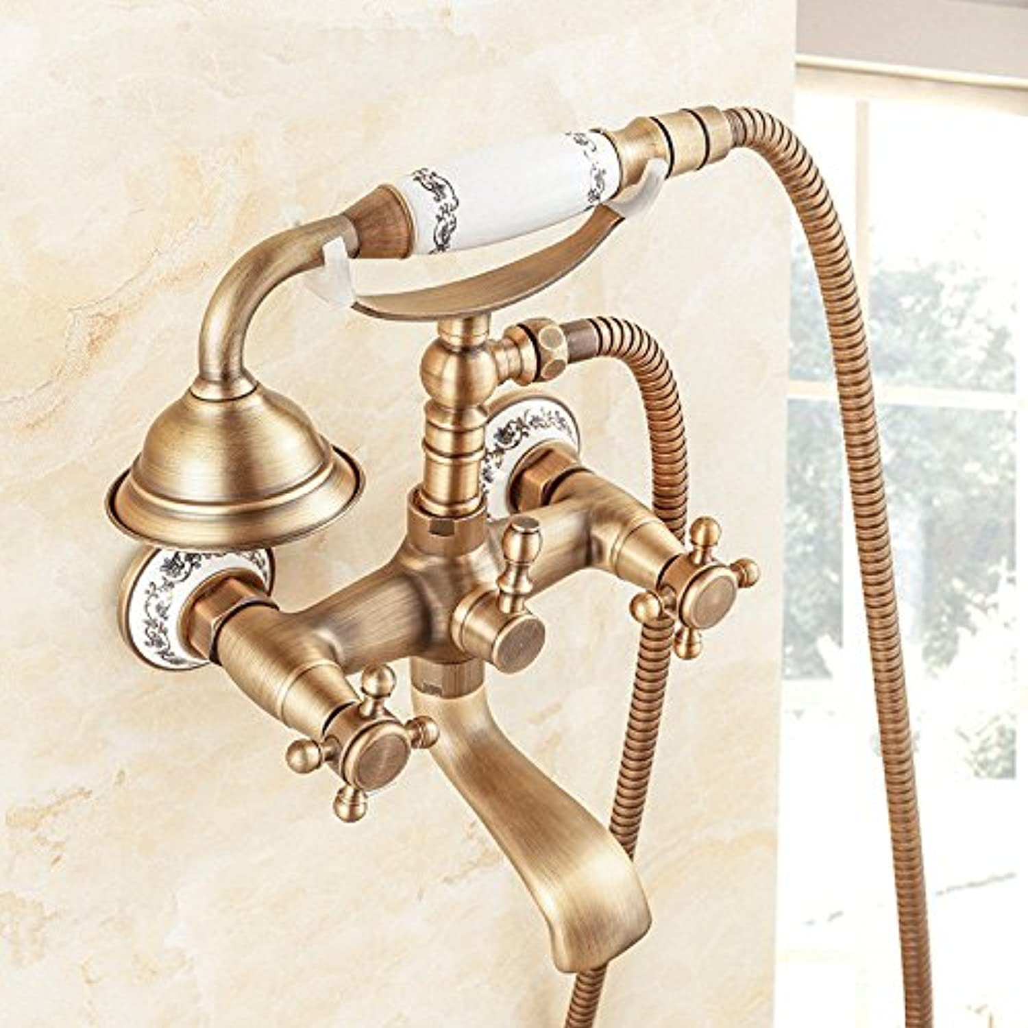 Lalaky Taps Faucet Kitchen Mixer Sink Waterfall Bathroom Mixer Basin Mixer Tap for Kitchen Bathroom and Washroom All-Copper Antique Wall-Mounted Shower Head