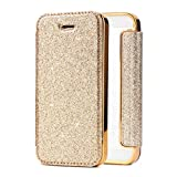 Qpolly - Carcasa compatible con iPhone 5S/5/SE con purpurina, piel sintética y silicona transparente, con ranuras para tarjetas, color dorado