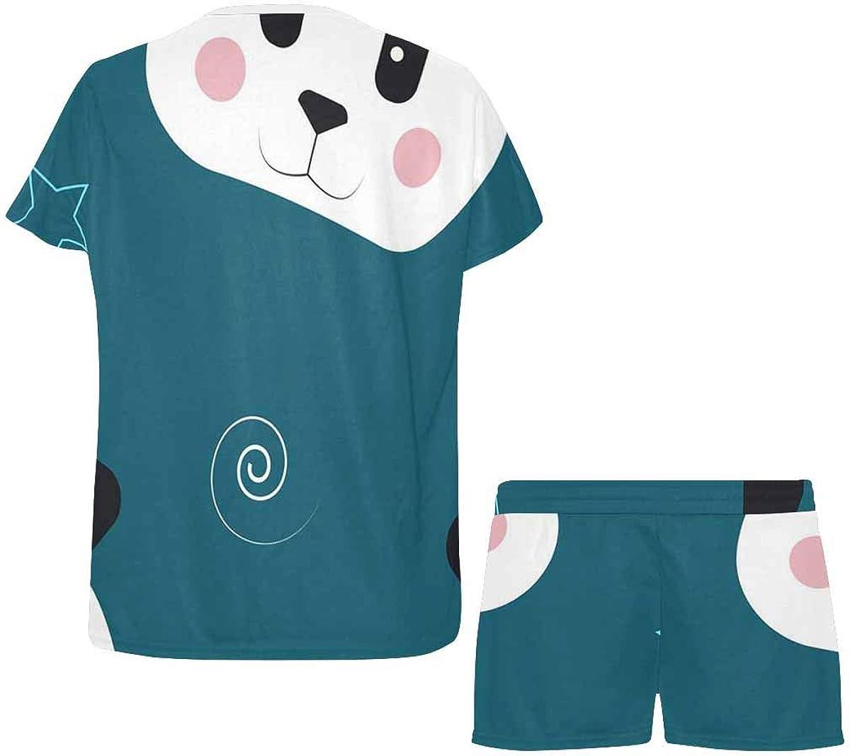 INTERESTPRINT Panda Cute Pattern Women's Pajamas Short Sets Round Neck Short Sleeve Sleepwear