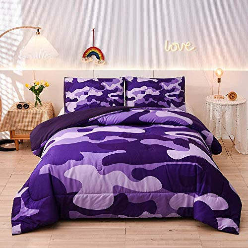 Meeting Story Camouflage-Bettwäsche-Set, violettes Camouflage-Tarnmuster, 3-teilig, eine Bettdecke & zwei Kissenbezüge, leichte Tagesdecke für Kinder, Teenager, Erwachsene (lila, Doppelbett)
