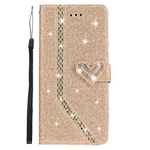 Homikon PU Leder Hülle Schön Bling Glänzend Glitzer Diamant Liebe Schutzhülle Brieftasche Lederhülle Bookstyle Handyhülle Magnetverschluss Tasche Kompatibel mit Samsung Galaxy A7 2018 - Gold