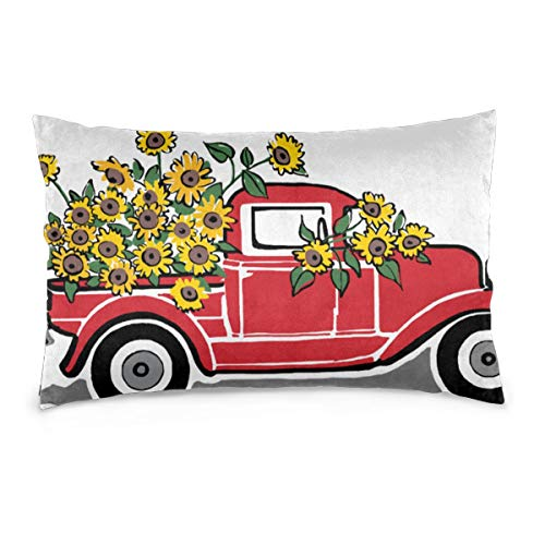 Overlanlobal Rustic Vintage Red Truck Sunflowers Pillow Case Throw Pillow Covers Home Sofa Cars Decors White 16'' X24