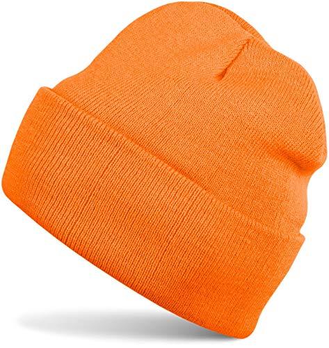 styleBREAKER Klassische Beanie Strickmütze, warme Feinstrick Mütze doppelt gestrickt, Unisex 04024029, Farbe:Orange