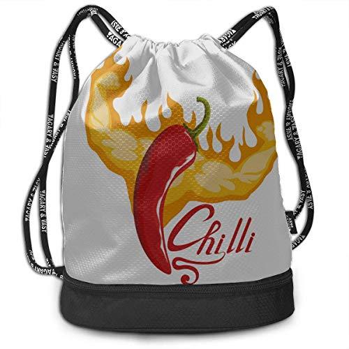 OKIJH Mochila Mochila de Ocio Mochila con cordón Mochila Multifuncional Bolsa de Gimnasio Mens Gym Bag Chill Red Spicy Pepper Gym Drawstring Bags Backpack Sports String Bundle Backpack For Sport with