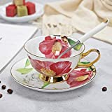 SINS Juego de vajilla de Porcelana para Tazas de té y platillos de Porcelana Bone China, YF-1450AG, 200-400 ml
