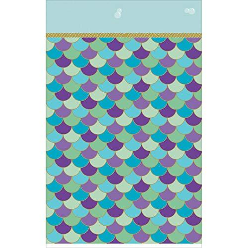 amscan 571975 Zeemeermin Wens Schalen Kunststof gevoerde Papier Tafelkleed 1.37m x 2.59m-1 Pc