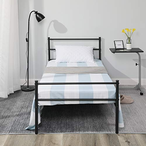 Aingoo Single Bed Frame 3ft Metal Bed Frame with Headboard for Adults Children kids Black