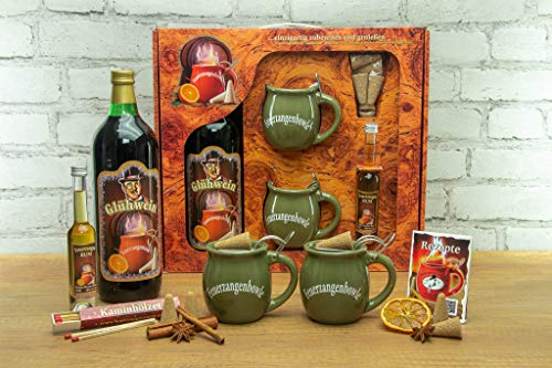 Feuerzangentasse Geschenkset, Wurzelholz, Oliv - für Feuerzangenbowle
