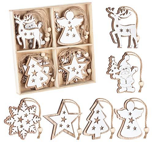 Adorfine 12 Stück Holz Christbaumschmuck Doppelschicht Weihnachtsanhänger Christbaumanhänger Holz Weihnachtsbaumschmuck Anhänger für Weihnachtskalender Verzierung Deko(Weiße)