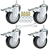 YEEMIGO 4 Inch Threaded Stem Mount Industrial Casters Unified National Coarse 5/16'-18x1' Locking Metal Swivel Wheel Castors for Carts, Furniture, Dolly, Workbench, Trolley