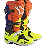 Alpinestars - Bottes Moto Cross Alpinestars Tech 10 Orange Fluo, Bleu, Blanc, Jaune Fluo - sac6d - 44.5