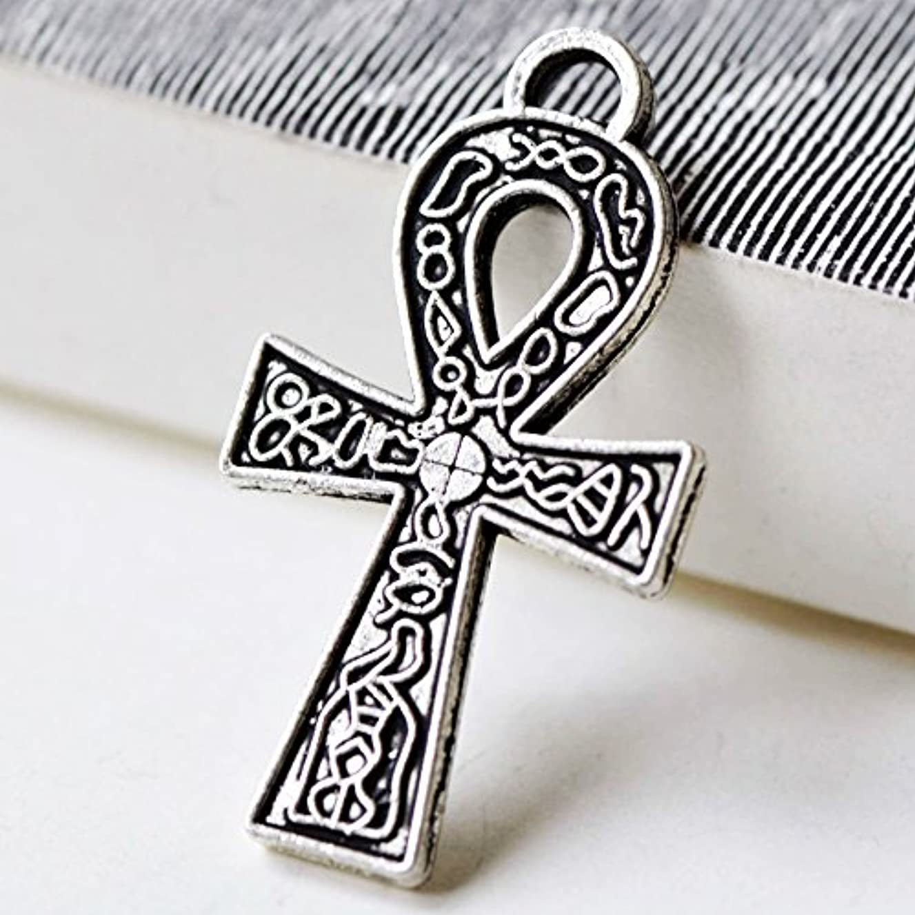 Ankh Charms 5 Antique Silver Ankh Charms Egyptian 38x21mm Symbol Charm Craft Supplies (NS695)