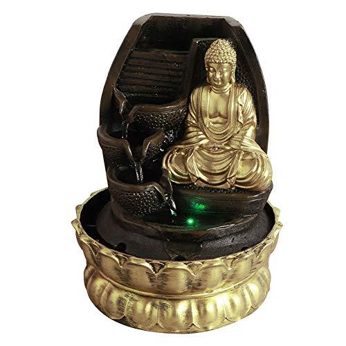 Weiyiroty Fontana Buddha Giardino Zen da Tavolo con Luci a LED Fontana Decorativa da Interno Cascata Fontana Feng Shui Rilassante Meditazione Zen Decorazione per Ufficio, Casa, Camera da Letto(1)