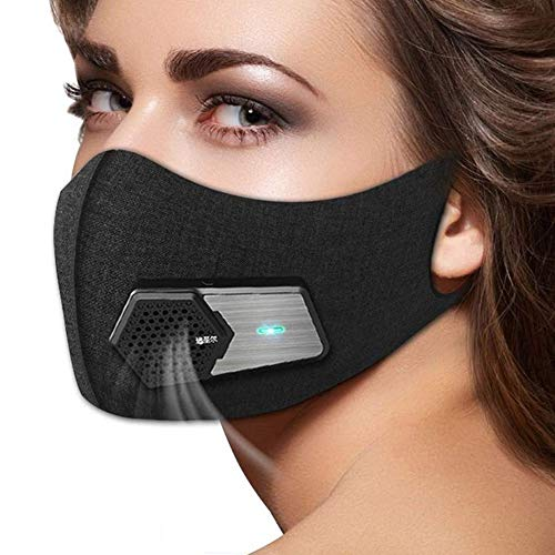 Smart Electric Face Protector Shield Black Anti Pollution Air Purifier Respirator Anti Dust Washable Reusable Activated Carbon Filter, with 5 composite filter