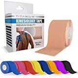 Titanium Sports Kinesiology Tape - Elastic Water Resistant Tape for Support and Muscle Recovery - 5m Quality Sports Tape (Beige)