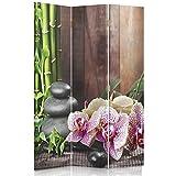 Feeby Frames Biombo Impreso sobre Lona, tabique Decorativo para Habitaciones, a una Cara, de 3 Piezas (110x180 cm), Zen, BAMBÚ, ORQUÍDEA, GUIJARROS, Multicolor