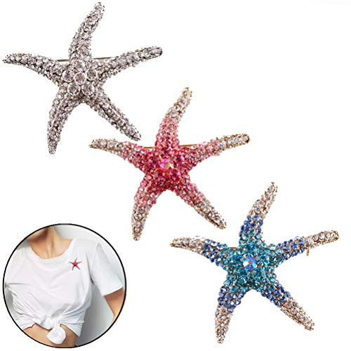 SUSHAFEN 3Pieces Cute Sea Starfish Brooch Pins Rhinestone Crystal Star Corsage Safety Brooch Pins for Sweater Cardigan Clip Clothing Jeans Scarf Hat Bag Shoes Decor Jewelry Pin Gift
