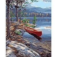 大人、初心者、子供向けの数字で描く川の風景でのボートの帆布の40x50cmのプレパターンアクリル絵画DIYペイントワーク描画アート-家の壁の装飾