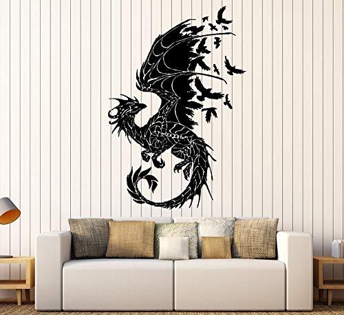 Sanzangtang Draak-silhouet vinyl muursticker vogel fantasie sprookjes gothic abstracte muursticker decoratie woonkamer kunststicker
