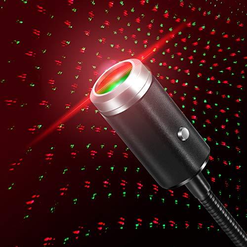 Proyector USB de luz nocturna ajustable, interior, luces del coche, romántico, decoración portátil de lámpara para techo, dormitorio, fiesta y más (rojo y verde)
