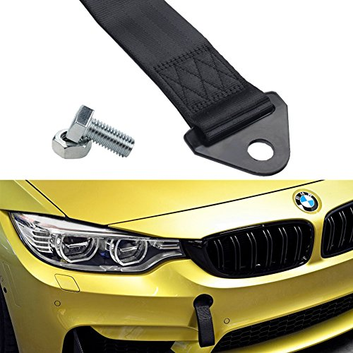 Dewhel UNIVERSAL HIGH STRENGTH RACING RALLY TOW STRAP KIT FRONT REAR Tow Hook Ribbon Black