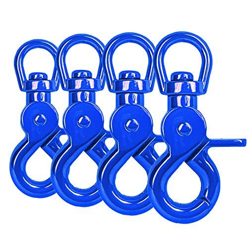 Ganzoo Scheren-Karabiner Haken mit Dreh-Gelenk/Dreh-Kopf für Hunde-Leine/Hals-Band 4er Set, legierter Stahl ? 61mm Länge, auch für Paracord 550 / Schlüssel-Anhänger, Farbe: blau