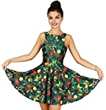 Jescakoo Cute Christmas Tree Print Tank Dress Sleeveless Pleated Skater Skirt Costume