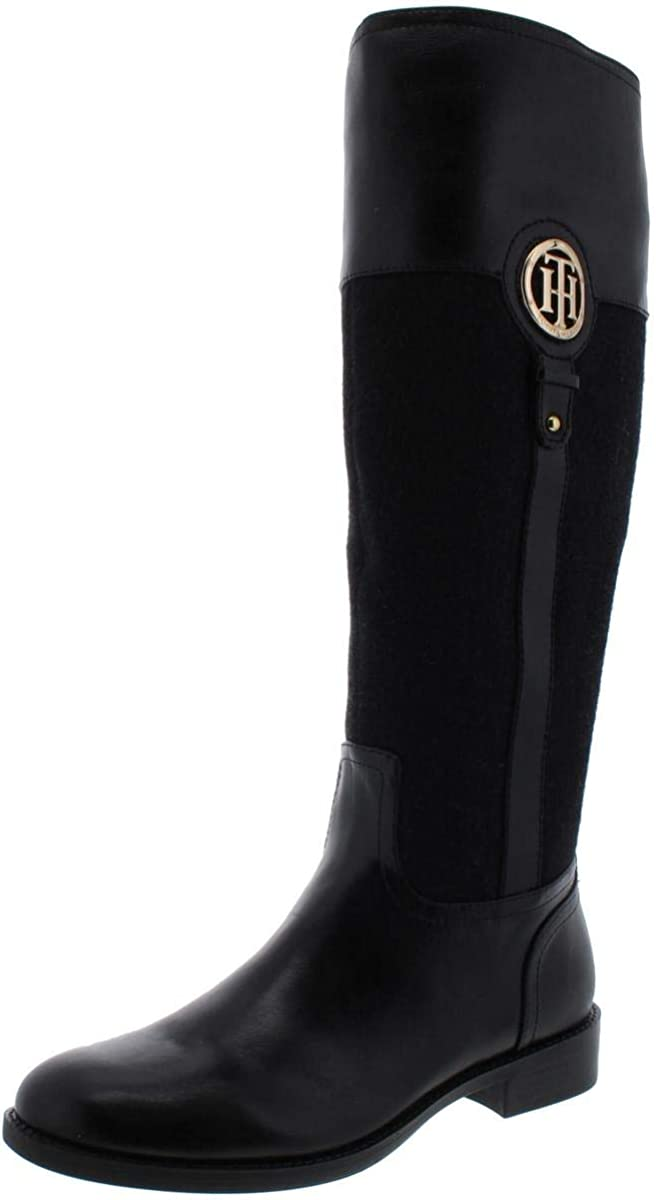 Tommy Hilfiger Womens Ilia5 Leather Almond Toe Mid-Calf Riding Boots
