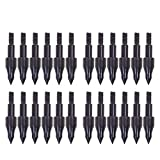 JIAKAI 24 Piece Black Screw-in Archery Bullet Points Arrow for Field Target Practice Shooting,100 Grain Each