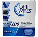OptiWipes  200 Toallitas Húmedas Individuales - Limpia y desinfecta lentes,...