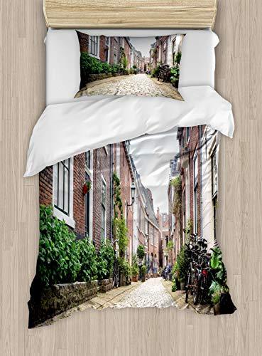 ABAKUHAUS Stad Oude Huizen Dekbedovertrekset, Old City Haarlem, Decoratieve 2-delige Bedset met 1 siersloop, 130 cm x 200 cm, Veelkleurig