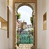 Auvvsovs® Etiqueta Autoadhesiva De La Puerta Del Cartel De La Puerta 3D Venecia Agua Ciudad Río...