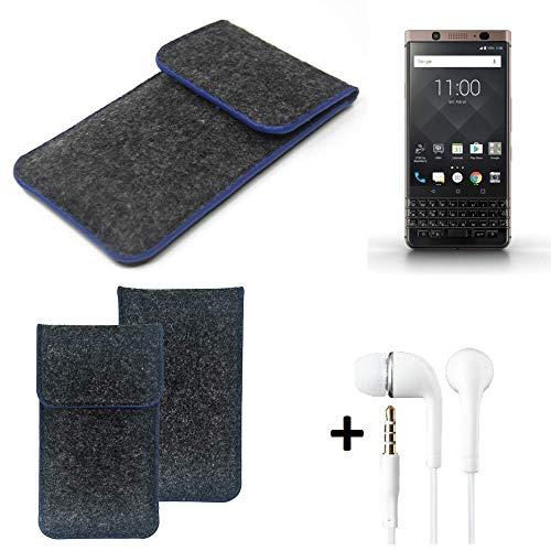 K-S-Trade Filz Schutz Hülle Für BlackBerry KEYone Bronze Edition Schutzhülle Filztasche Pouch Tasche Handyhülle Filzhülle Dunkelgrau, Blauer Rand Rand + Kopfhörer