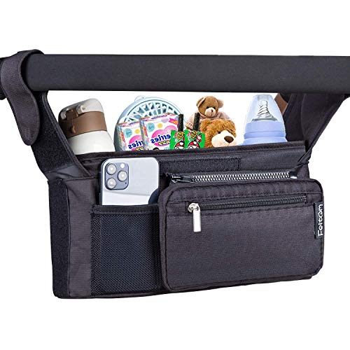 Feltom Baby Stroller Organizer, Universal Stroller Storage Bag with Cup Holders Waterproof and Detachable Phone Bag and Shoulder Strap, Stroller Accessories for Carrying Diaper, Phone, Toys and Snacks