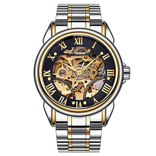 Relojes de Hombre Reloj de Acero Inoxidable Resistente al Agua Reloj mecánico automático de Cuerda automática Reloj de Pulsera Hombre